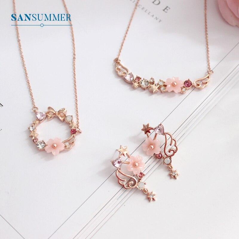 SANSUMMER Women Jewelry Sets 2019 New Girl Gold Pink Bow Sakura Earring Necklace Sweet Lovely Metal Female Jewelry Sets 5709