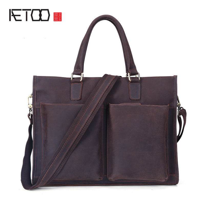 AETOO Europe and the United States fashion new men 's leather briefcase casual business mad horse leather handbags shoulder europe and the united states classic sheepskin checkered chain tide package leather handbags fashion casual shoulder messenger b