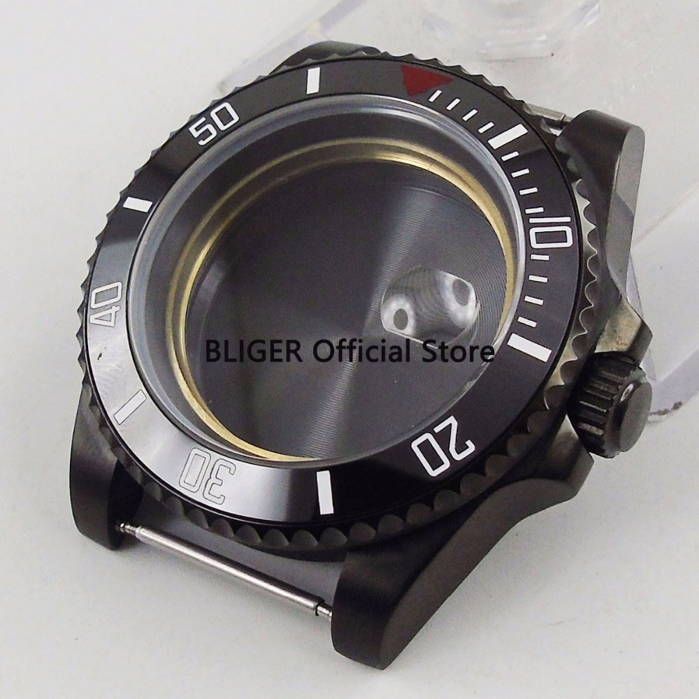 Sapphire Crystal 40mm Black Ceramic Black PVD Coated Watch Case Fit For ETA 2836 Automatic Movement C23