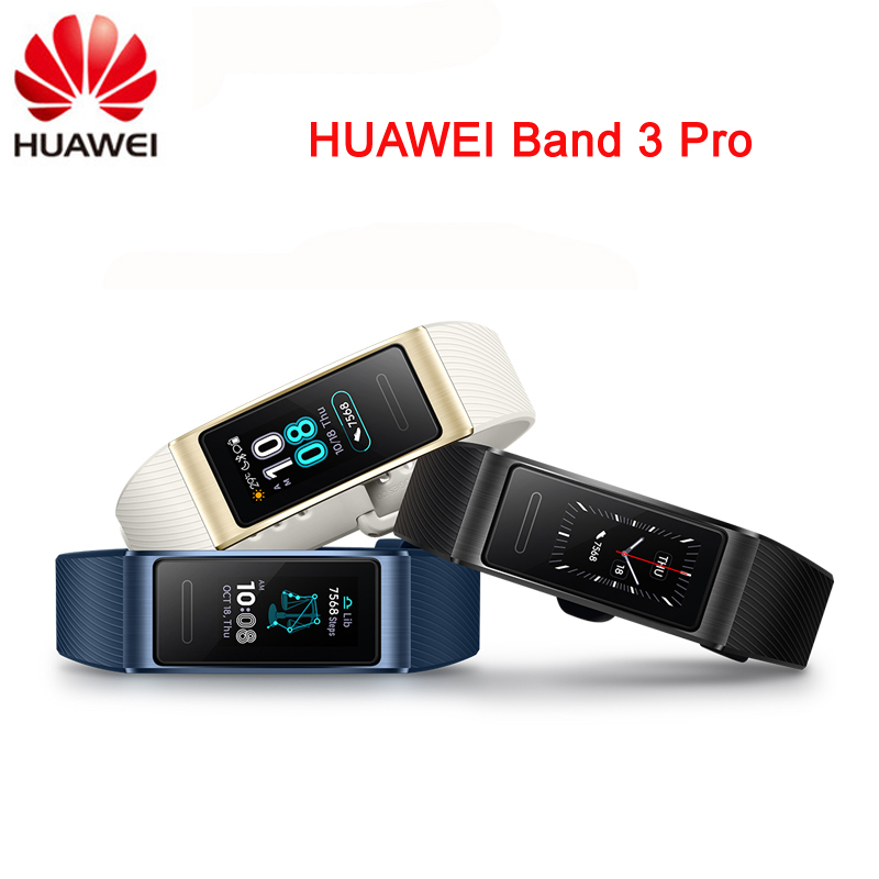Original Huawei Band 3 Pro Smartband GPS métal cadre Amoled écran couleur écran tactile nage course capteur de fréquence cardiaque sommeil