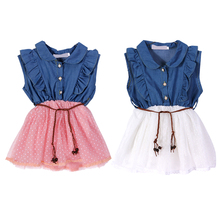 2-6 Years Baby Girls Clothes Cute Sleeveless Flower Dresses With Leather Belt Summer Denim Gauze Dress Kids One Piece Clothing