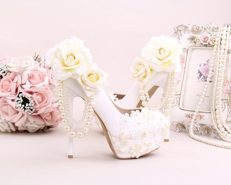 4_Women Dress Shoes For Wedding White Pearl Lace Flowers Bridal High Heel Platform Pumps 10cm 12cm 14cm Stilettos Footwear Online