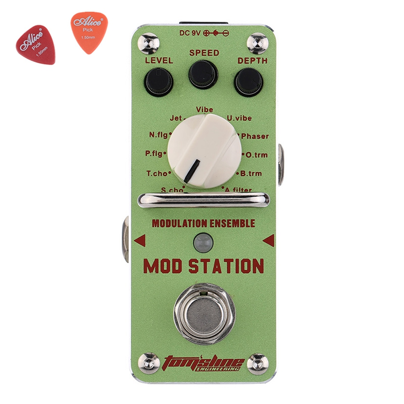 AMS-3 Mod Station Modulation Ensemble Guitar Effect Pedal  Aroma Mini Digita Pedals Effects With True Bypass Full Metal Shell mooer ensemble queen bass chorus effect pedal mini guitar effects true bypass with free connector and footswitch topper