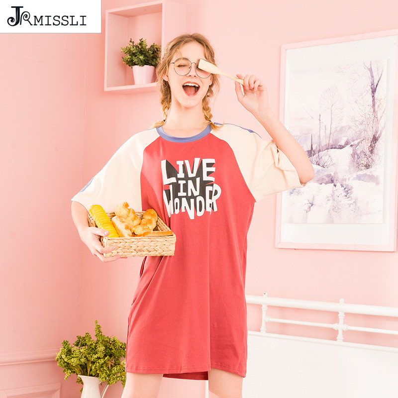 JRMISSLI Summer Night Dress Women Short Sleeve Korean Cute Fresh Sleepwear Letter Sleep Wear Womens   Nightgown     Sleepshirts   Night