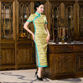 2016 Fashion Printing Yellow Cheongsam Shanghai Chinese Oriental Dresses Women Summer Dress Long Designer QiPao  Free Shipping