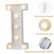 White Plastic Letter LED Night Light Marquee Sign Alphabet Lights Lamp Home Club Outdoor Indoor Wall Decor Valentine's Day Gift