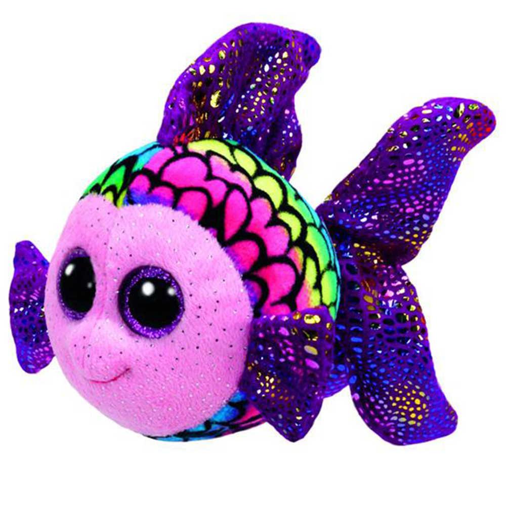 """Pyoopeo Оригинал Ty Boos 10 """"25 см флиппи цвет рыбы плюшевые средние с большими глазами мягкие животные коллекционные игрушки куклы с биркой сердца"""