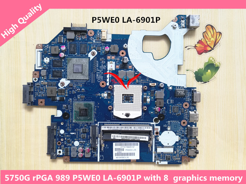 MBRCG02006 MBRCG02007 MBBYK02001 P5WE0 lA-6901p REV :2.0 Laptop motherboard Suitable for Acer Aspire 5750G Notebook PC