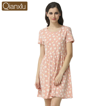 Qianxiu Cotton Sleepshirts O-neck Nightskirt knee- length Homedress white flower printing Short sleeve Nightgown1644