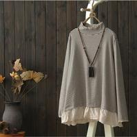 Mori Girl Winter Autumn Gray White T Shirt Striped Turtleneck plus size lace Loose Long Sleeve Ladies clothes