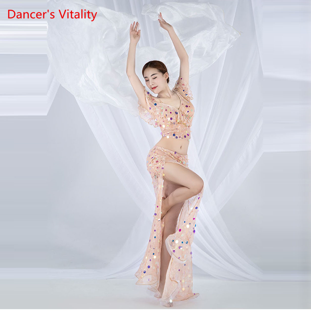 Image 3 - Women Belly Dance Practice Clothes Summer Sling Split Long Skirt Suit New Oriental Dance Set Top+Skirt 2pcs-in Belly Dancing from Novelty & Special Use