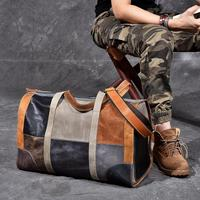 Full Genuine Leather Military Duffel Bag Distressed Leather Travel Bag Weekender Overnight Leather Bag Patchwork color