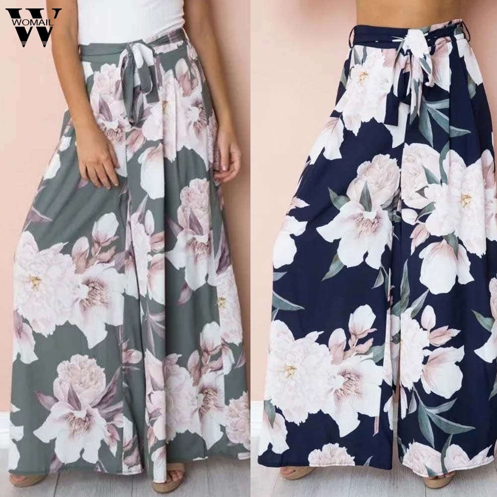 Womail Women   Pants   summer Fashion Flower Print Loose Trousers   Pants   Casual High Waist Long   Wide     Leg     Pants   daily Holiday J62