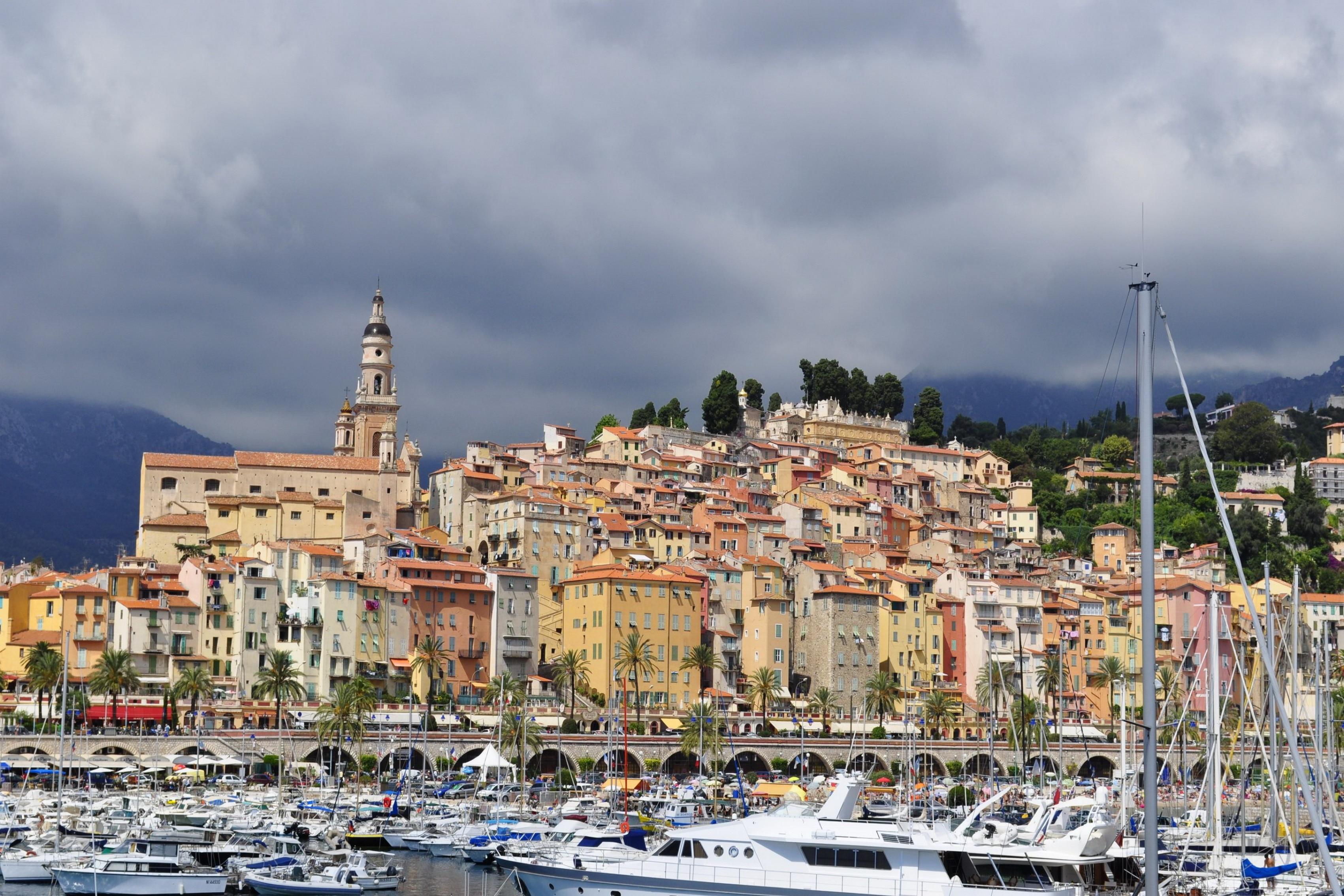 Frankreich Häuser Menton Städten boot marina wohnzimmer decor ...