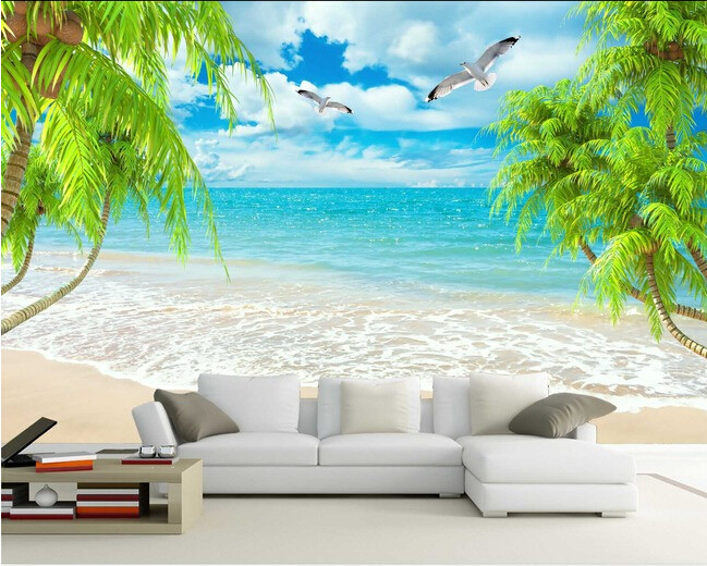 Custom scenery wallpaper palm beach sea scenery mural for the living room bedroom TV background wall