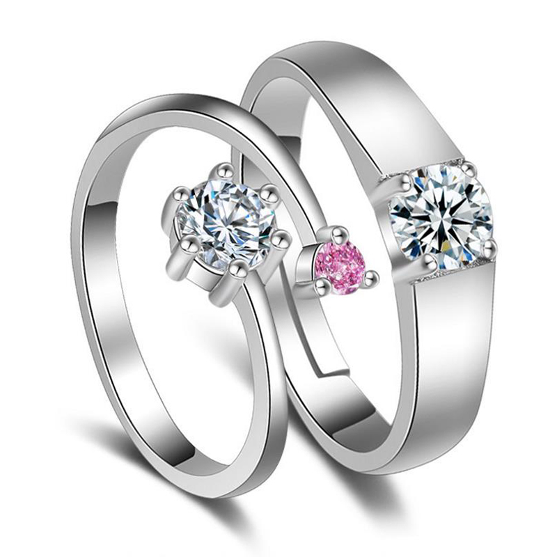 Fashion Couple Ring For Women AAA Zircon Wedding Jewelry 925 Sterling Silver Rings Lover Anniversary Engagement Jewelry 2Y502