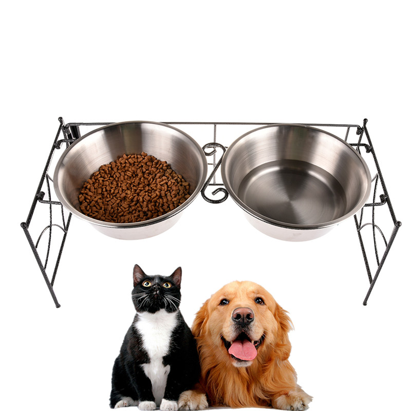 Fashion High Quality Stainless Steel Double Pet Bowls Feeder Multifunctional Pets Bowl Food Water Feeding Supplies For Large Dog
