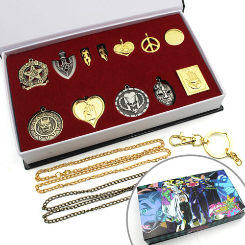 ohcomics Hot Anime JoJo's Bizarre Adventure JOJO Metal Necklace+Keychain+Box Key Ring Costume Accessories Pendants Decor Gift