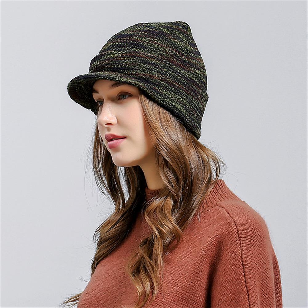 peaked cap Ladies Baggy Warm Crochet Winter Hat Wool Knit Ski Beanie Skull Slouchy  Caps winter hats for women -in Skullies   Beanies from Apparel ... 98f248d62fea
