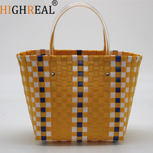 Weave Basket Beach Bag Straw Totes Bag Bucket Summer Bags Handmade Women Braided 2018 New Shopping Bags