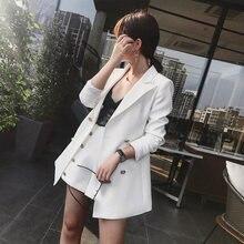 Ufficio elegante Signora Short Suit Set Donne 2 Pezzo Set bianco colore Jacket Blazer + A Vita Alta Mini Tailleur Pantalone Tuta Femminile