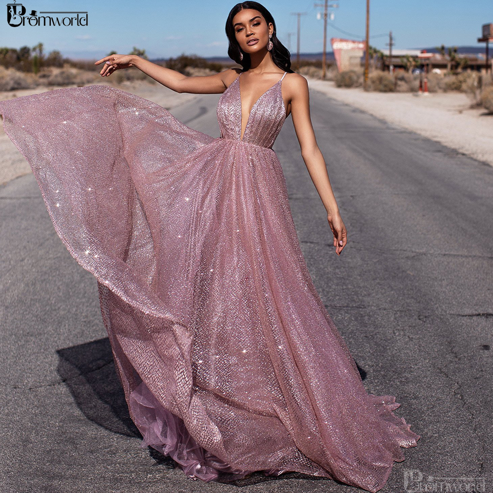 Sexy Rose Gold Prom Dresses 2019 A-Line Sequin Party Maxys Long Prom Gown V-neck Backless Evening Dress Vestido De Festa Longo