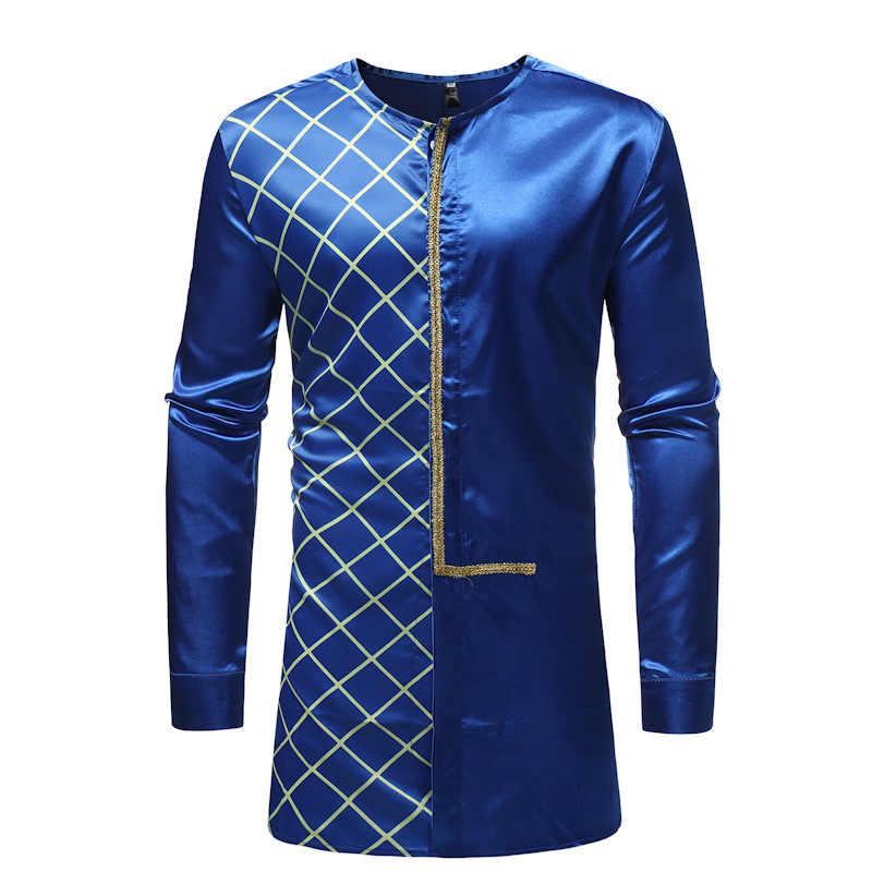 ... Men s Hipster African Clothes LongIine Plaid Shirt 2018 Fashion  Traditional Tribal Dashiki Dress Shirts Men African ... 7ec0efc6b