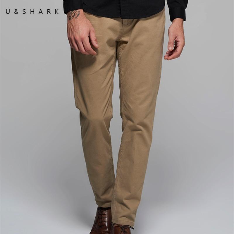 U Shark High Quality Designer Casual Khaki Pants Regular Brand Men Workwear Luxury 2017 Spring Cotton
