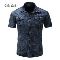 Chic Gail Marca Nova Camisa Dos Homens Camisa Denim Jean Camisas de Alta Qualidade Rua Vestindo