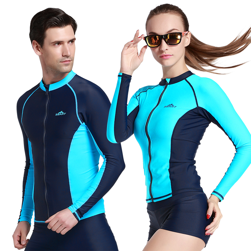 SBART Long Sleeve Swim Rash Guard Shirts UPF50 Anti-UV Rashguard Top With Zipper Men Women Rashguard Surf Jacket Plus Size XXXL
