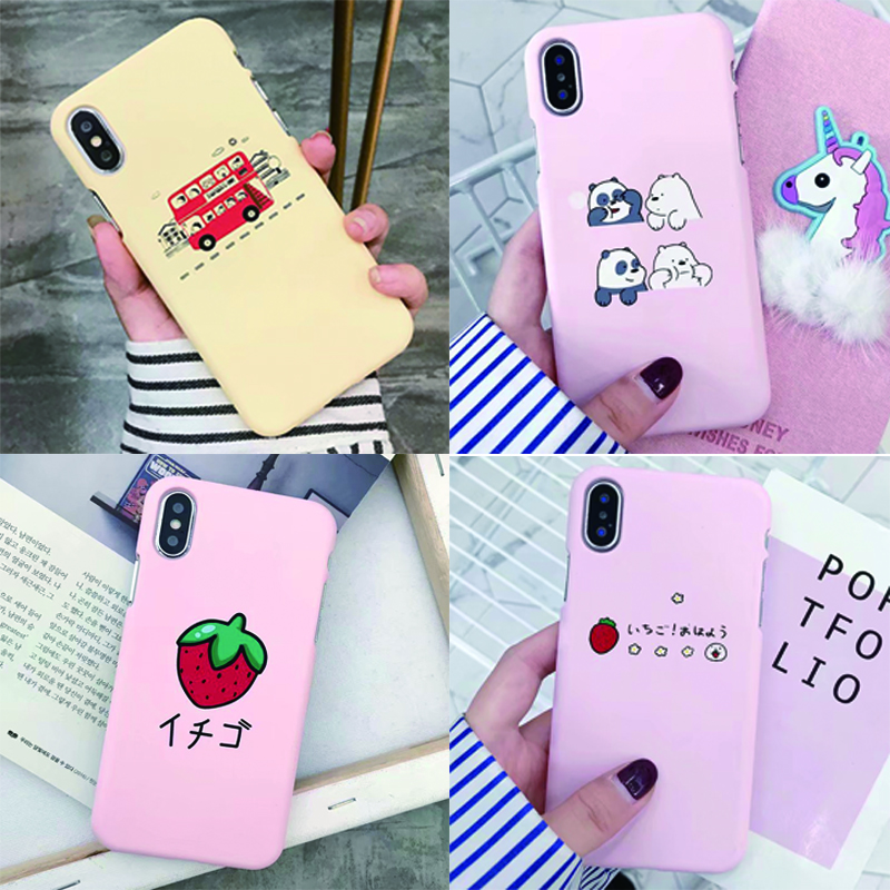 Fashion Cute For Apple iPhone 6 6s 7 8 Case Animal Buses Phone Cases Hard plastic PC Back Cover For iPhone 6 6s 7 8 X Plus Case