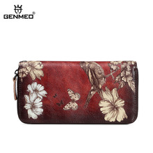GENMEO Brand New Arrival Genuine Leather Zipper Wallet Women Coin Purse Sparrow Flowers Cow Hand Strap Bolsa Feminina
