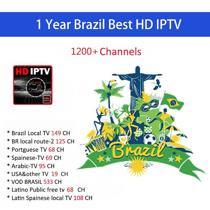 1 an IPTV abonnement Europe Brasil Canais Do Brasileiro Portugal Francais espagne pour Android Box Enigma2 M3U Smart TV PC