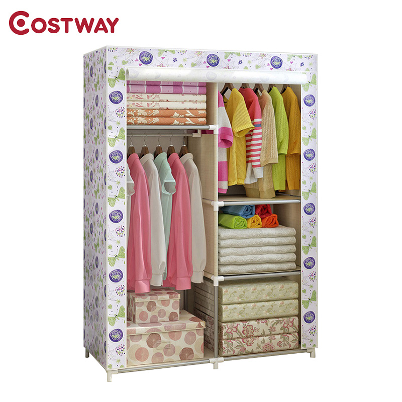COSTWAY Bedroom Non-woven Wardrobes Cloth Storage Saving Space Locker Closet Sundries Dustproof Storage Cabinet W0150