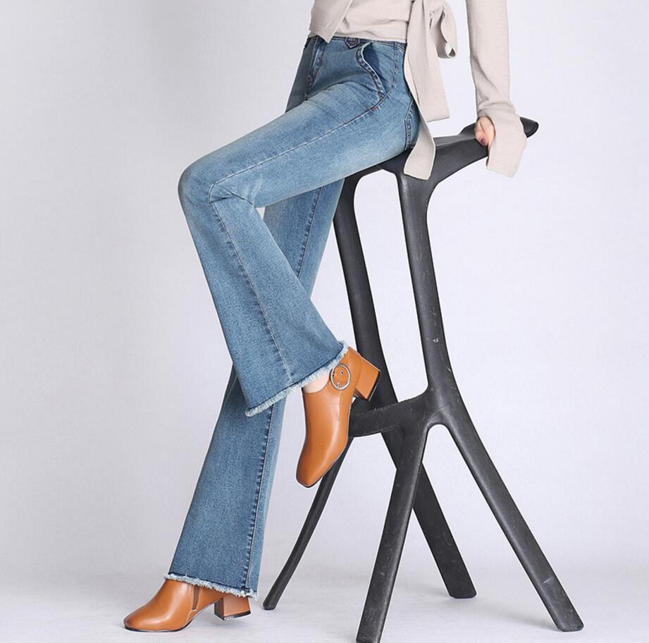 2018 Autumn Women High Waist Bootcut Flare Bell Bottom Crop Flare Jeans Pants Slim Stretch Denim Pants Plus Size Pants R256