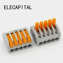 5 pces 222-415 tipo 5 p universal compacto fio PCT-215 conector de condutores do bloco de terminais