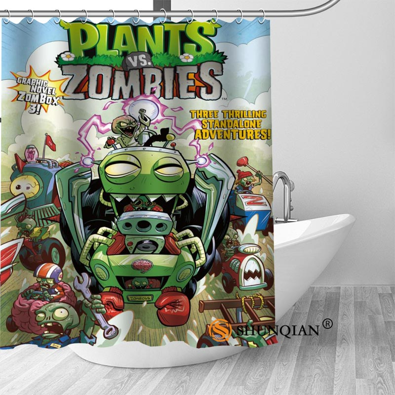 Custom plants vs zombies Bath Curtain Fabric Modern Shower Curtain bathroom beautiful Curtains Bath decor
