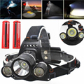 RU USA 6000Lumen CREE XM-L T6 LED Headlamp L2 Headlight Caming Hunting Head Light Lamp 3 Modes +2*18650 Battery + EU+Car Charger