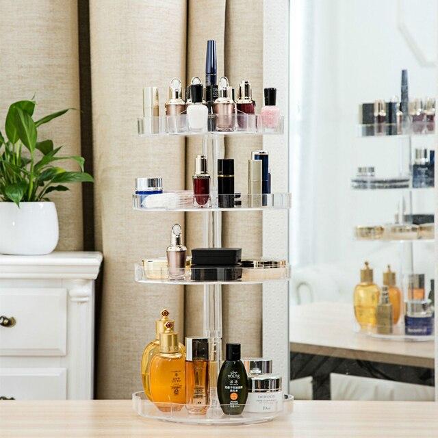 Extra Large Capacity 360 Degree Rotating Makeup Organizer Lipstick Holder Adjustable Multi Function Cosmetics Storage Box