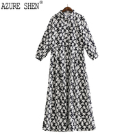 AZURE SHEN Spring Star Print Long A Line Women Dress 2018 Casual Cute Turn Down
