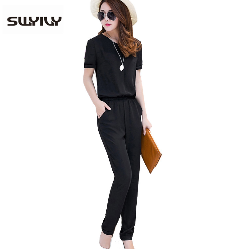 7ad91439fee7 Large Size 3XL 4xl Women Jumpsuits Black Short-Sleeved Summer Overalls  Chiffon One Piece Pants
