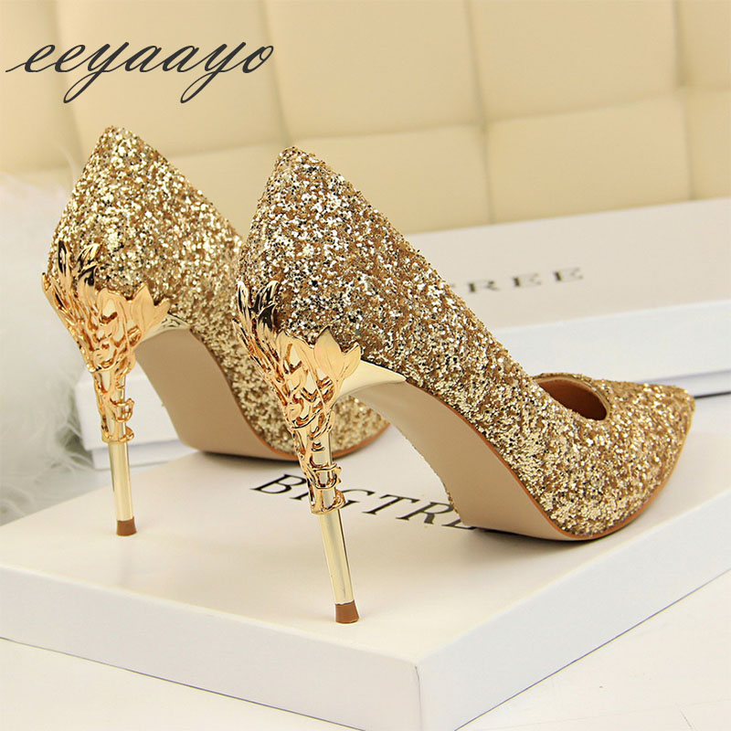 2019 New Spring Women Pumps High Thin Heels Pointed Toe Metal Decoration Sexy Bling Bridal Wedding Women Shoes Gold High Heels(China)