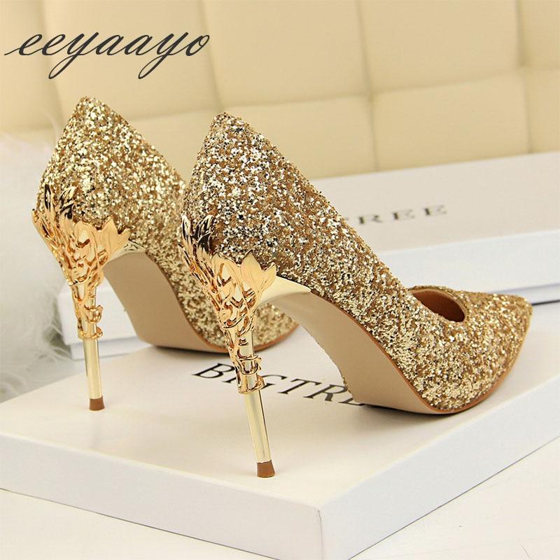 2019 New Spring Women Pumps High Thin Heels Pointed Toe Metal Decoration Sexy Bling Bridal Wedding Women Shoes Gold High Heels mattress