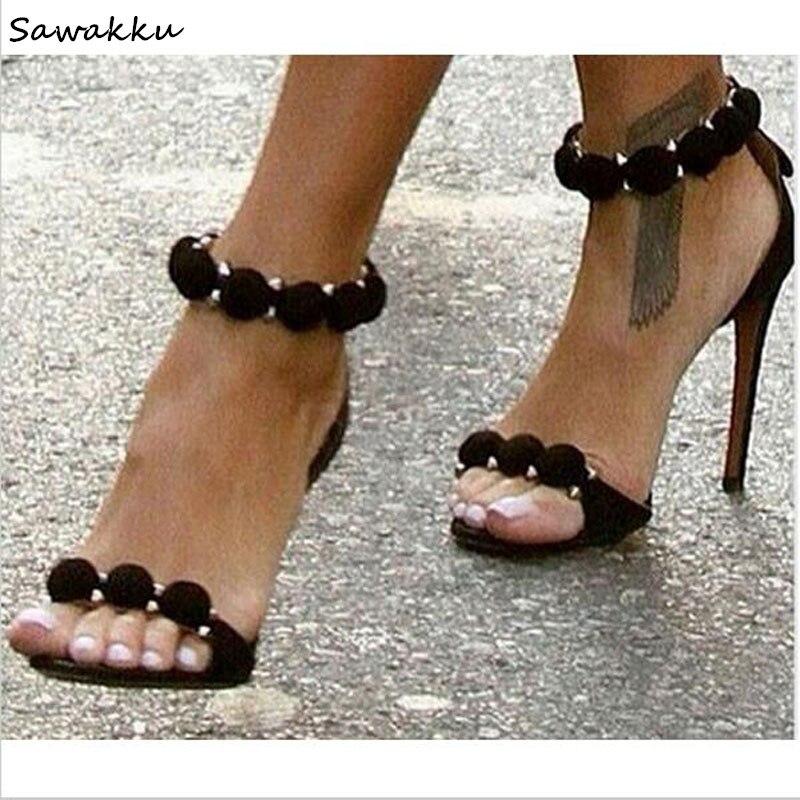 Women Stylish Kardashian Gladiator Sandals 2018 Velvet Ball Embellished Decorations High Heels Summer Sandalials Woman Shoes stylish cobblestone shape embellished golden mirrored sunglasses for women