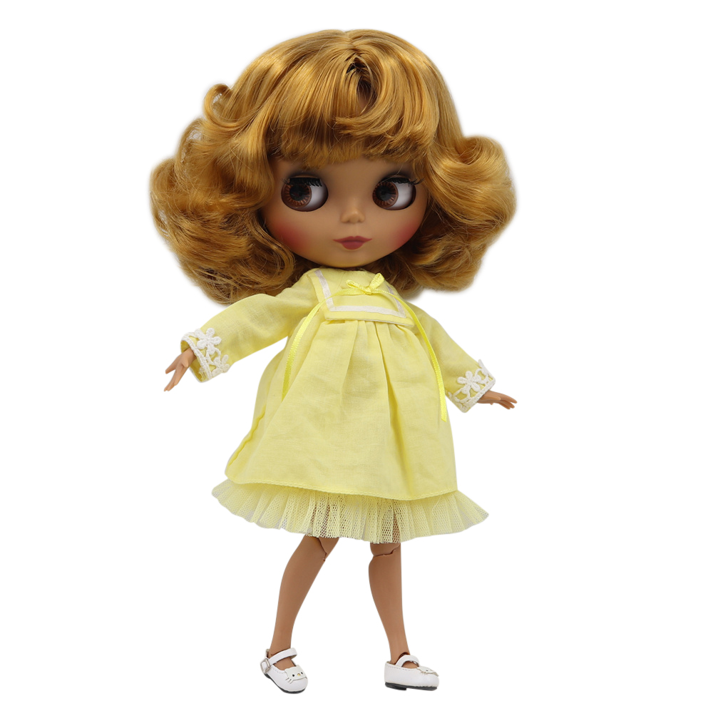 Blyth doll 30cm dark skin matte face Golden short curly hair 1 6 JOINT body ICY
