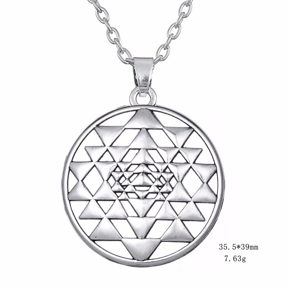 Lemegeton Mandala Charm Necklace Sri Yantra Religious Symbol Indian