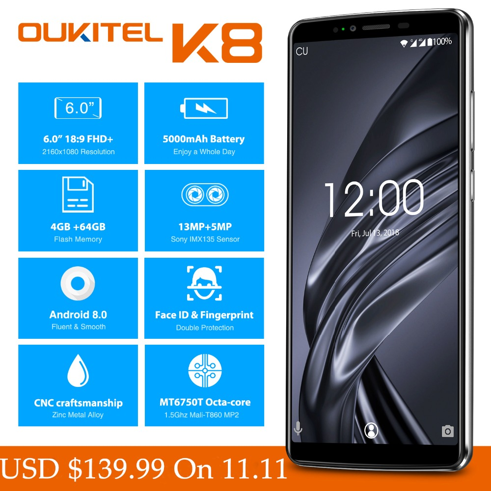 6.0 FHD + OUKITEL K8 Android 8.0 Telefones celulares 4 gb gb 13.0MP 64 + 5.0MP MTK6750T Núcleo octa face de impressão digital ID de Smartphones Dual SIM