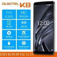 6.0 FHD+ OUKITEL K8 Android 8.0 Mobile Phones 4GB 64GB 13.0MP+5.0MP MTK6750T Octa Core Fingerprint Face ID Dual SIM Smartphones