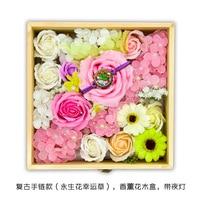 Exquisite Flower Gift Box Soap Flower Material Eternal Flower Bracelet Night Light Wooden Box Gift Set Handicraft Art Custom