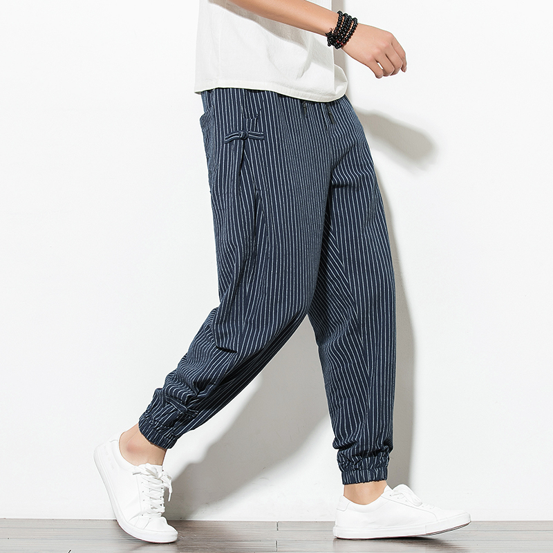 2019 Summer New Pattern Thin Section Ventilation Mianma Pankou Leisure Time Haren Pants Bloomers Striped sweatpants Japan Style image